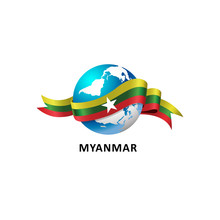 Vector Illustration Of A World – World With Myanmar Flag