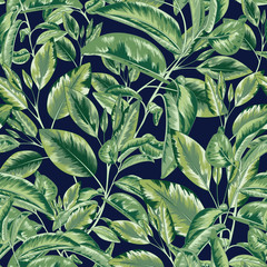 Panel Szklany Liście Green Jungle Seamless Vector Pattern