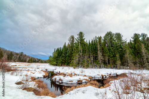 A river flows through the snow covered landscape Canvas Print