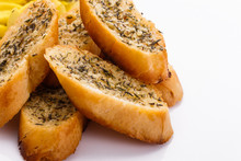Fragrant Garlic Bread On A White Acrylic Background