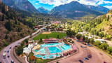 Aerial Hot Springs Ouray Mountain town