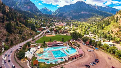 Fotografie, Obraz  Aerial Hot Springs Ouray Mountain town