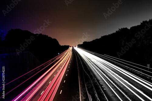 Fotobehang Nacht snelweg Moving cars