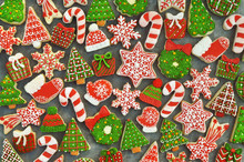 Homemade Festive Christmas And New Year Sweet Cookies Background Card