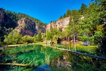 Hanging Lake Blue Oasis Waterfalls In Mountains