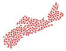 Collage Map Of Nova Scotia Province Formed With Red Love Hearts. Vector Lovely Geographic Abstraction Of Map Of Nova Scotia Province With Red Romantic Symbols. Romantic Design For Relations Projects.