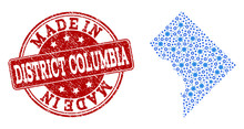 Map Of District Columbia Vector Mosaic And Made In Grunge Stamp. Map Of District Columbia Created With Blue Gear Links. Made In Red Seal With Distress Rubber Texture.