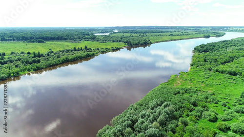 Poster Rivière de la forêt Beautiful natural scenery of river and green forest aerial view.