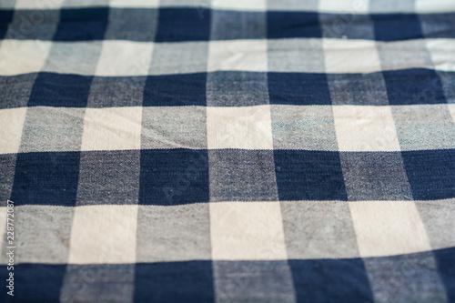 Fotografía Thai loincloth white blue square pattern.
