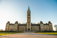 Center Block And The Peace Tower In Parliament Hill At Ottawa In Canada