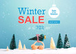Winter sale message with little car carrying a Christmas tree
