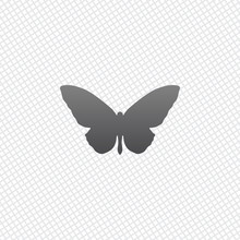 Butterfly Icon. On Grid Background