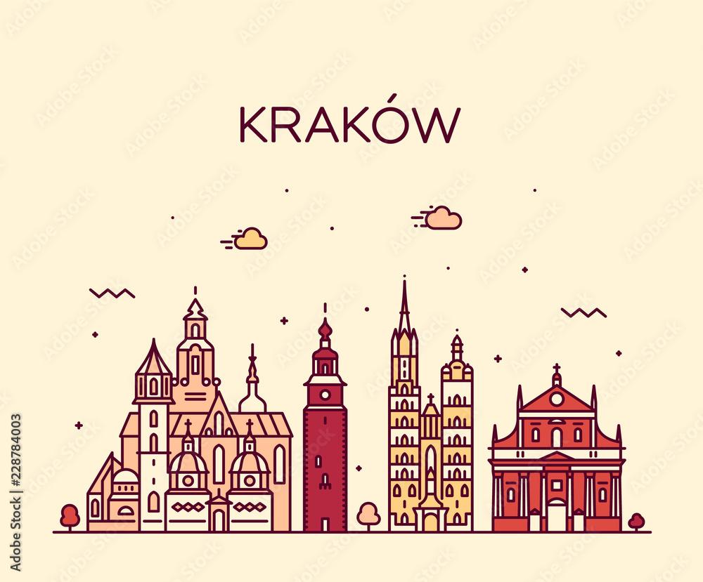 Obraz Krakow skyline, Poland. Trendy vector linear city fototapeta, plakat