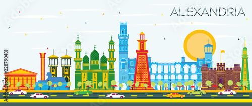 Alexandria Egypt City Skyline with Color Buildings and Blue Sky. Wallpaper Mural