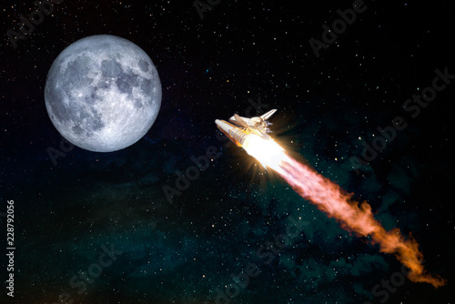 Spaceship taking off on a mission to the Moon, conceptual travel to the moon collage. Rocket flying in the space with fool moon. Elements of this image furnished by NASA.