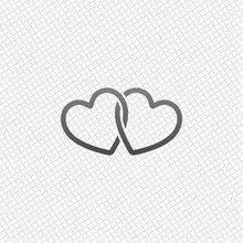 Linked Hearts Icon. On Grid Ba...