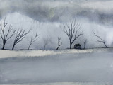 watercolor landscape winter season lonely house in the countryside cover dead tree and snow. - 228794621