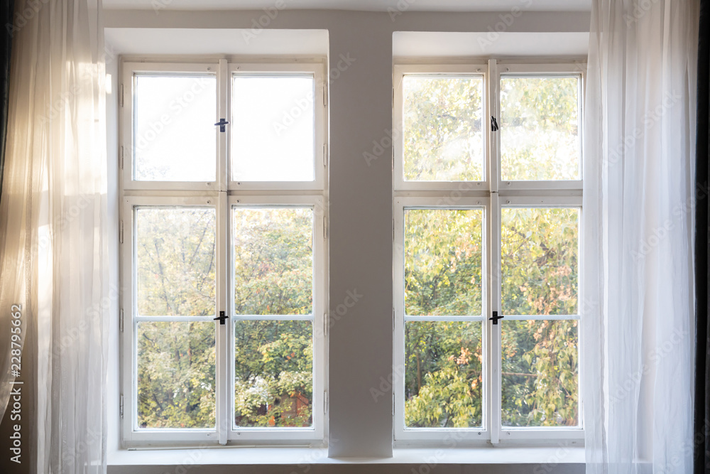 Fototapety, obrazy: Fall season. Trees with autumn leaves out of two closed white wooden windows.