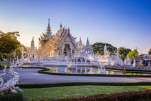 Beautiful And Amazing White Art Temple At Wat Rong Khun Chiang Rai, Thailand It Is A Tourist Destination. Landmark Of Chiang Rai