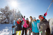 canvas print picture - Friends on mountain skiing