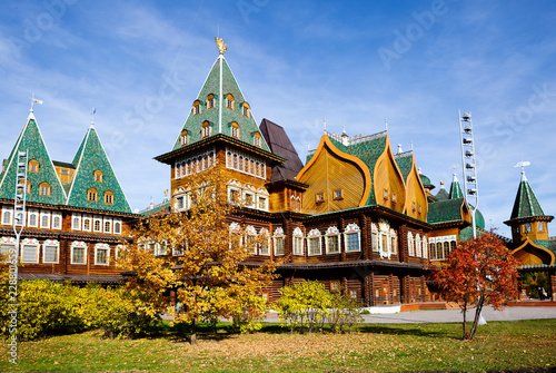 Moscow, Russia, wooden Palace of czar Alexey Mikhailovich in Kolomenskoye (reconstruction). It is a wooden Royal Palace built in the suburban village of Kolomenskoye in the 17th century.
