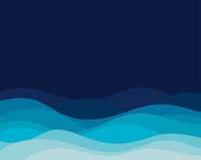 Blue Ocean Wave Curve Sea Concept Abstract Vector Background