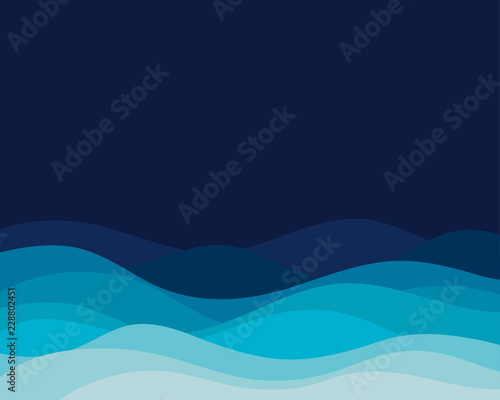 Blue wave concept abstract vector background Fototapete