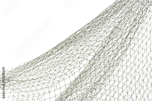 Tablou Canvas Fishing net on white background, closeup view