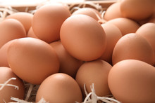 Pile Of Raw Brown Chicken Eggs In Straw