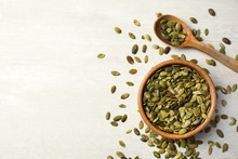 Shelled Raw Pumpkin Seeds On L...