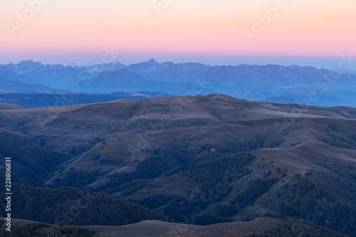 Deurstickers Asia land Caucasus from Bermamyt Plateau at blue dawn