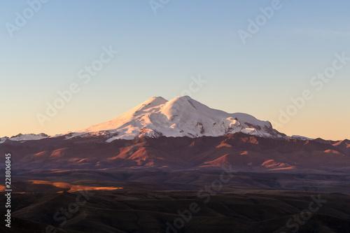 Deurstickers Asia land Mount Elbrus from Bermamyt during rising of sun