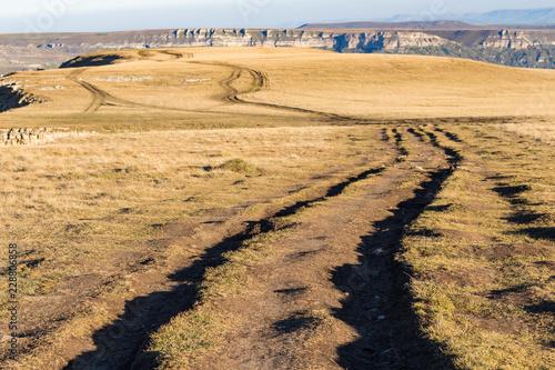 Deurstickers Asia land dirty road on top of Bermamyt mountain Plateau
