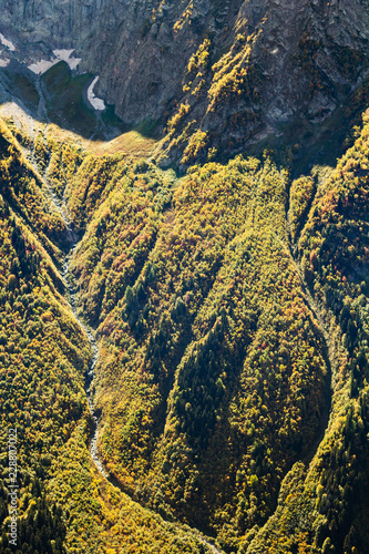 Deurstickers Asia land above view of river in overgrown mountain gorge