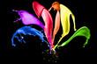 canvas print picture - Farbige Splashes auf schwarzem Hintergrund
