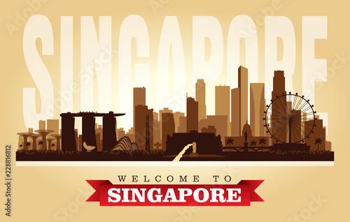 Fototapeta premium Sylwetka wektor panoramę miasta Singapur