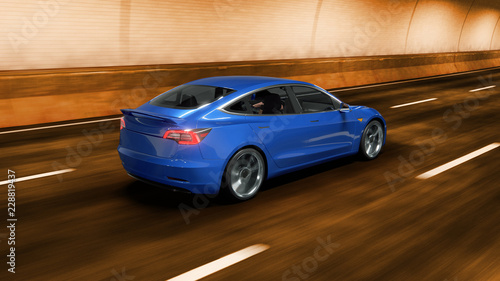 Spoed Fotobehang Snelle auto s Modern Electric car rides through tunnel with warm yellow light 3d rendering