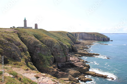 Garden Poster Lighthouse French Coast at Cap Frehel Brittany. English Channel.