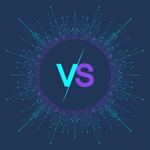 VS Letters In The Fractal Element With Connected Lines And Dots. Poster Communication Or Particle Compounds VS. Versus Vector Illustration