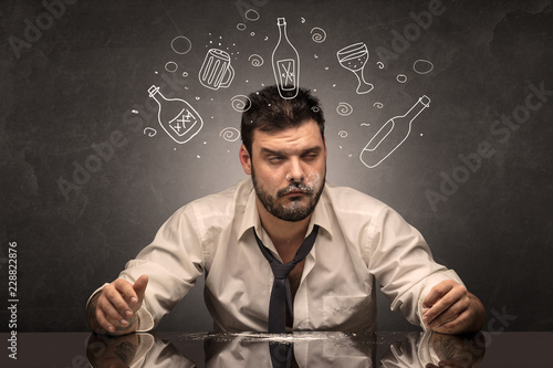 Fotografie, Tablou  Drunk down and out man with doodle alcohol bottles concept