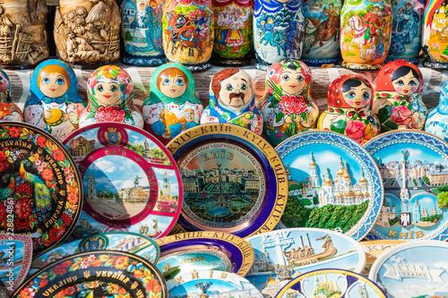 Staande foto Kiev Nested dolls in the souvenir from Ukraine.