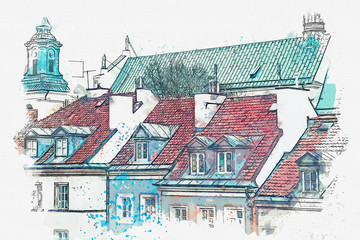 FototapetaA watercolor sketch or illustration of a traditional street with apartment buildings in Warsaw, Poland.