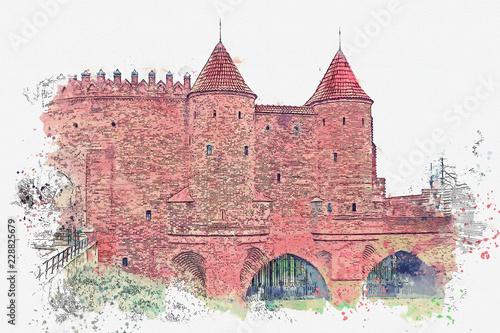 ilustracja-lub-szkic-akwarela-historyczny