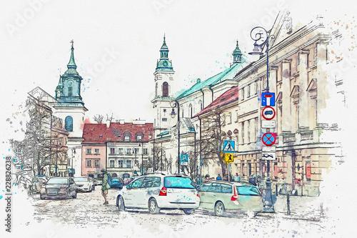 szkic-akwarela-lub-ilustracja-tradycyjnej-ulicy-z-apartamentowcami-w-warszawie-samochody-jezdza-w-trase-a-ludzie-zajmuja-sie-codziennymi-sprawami-normalne-zycie-w-miescie