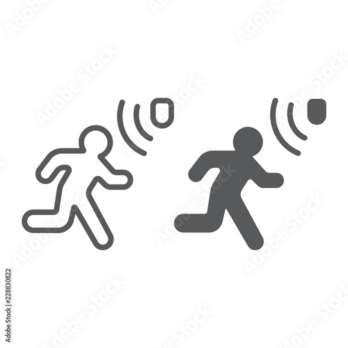 Motion detection line and glyph icon, security and detector, walking man sign, vector graphics, a linear pattern on a white background Fototapet