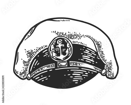 Captain hat isolated on white background  Vector vintage engraving