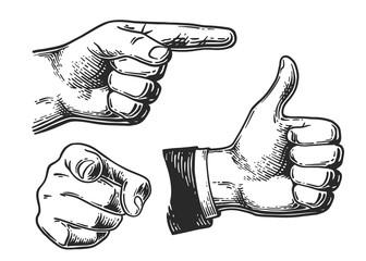 Zbiór różnych gestów dłoni, znaków i sygnałów. Wskazywanie, pięść, Jak ikona gestów. Vintage czarny Grawerowanie ilustracja do sieci, plakat. Ręcznie rysowane element projektu na białym tle.