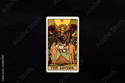 Leinwand Poster An individual major arcana tarot card isolated on black background