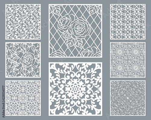 Valokuva Laser cut decorative panel set with lace pattern, square ornamental templates collection for die cutting or wood carving, element for wedding invitation card