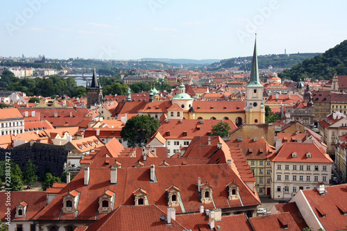 Cityscape of Prague in Czech, red roofs